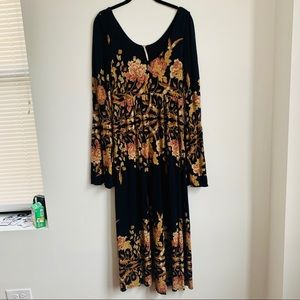 Free People | Black Floral Maxi Long Sleeve Dress